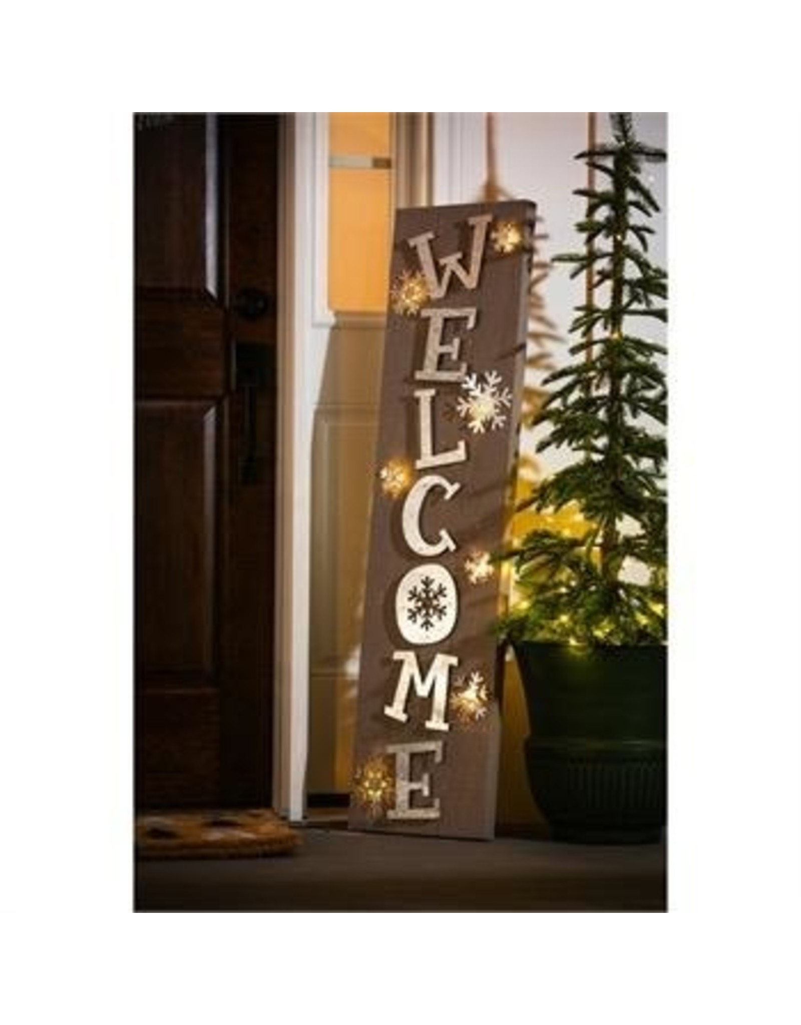 Evergreen Enterprises Wooden Porch Leaner battery operated LED, Welcome