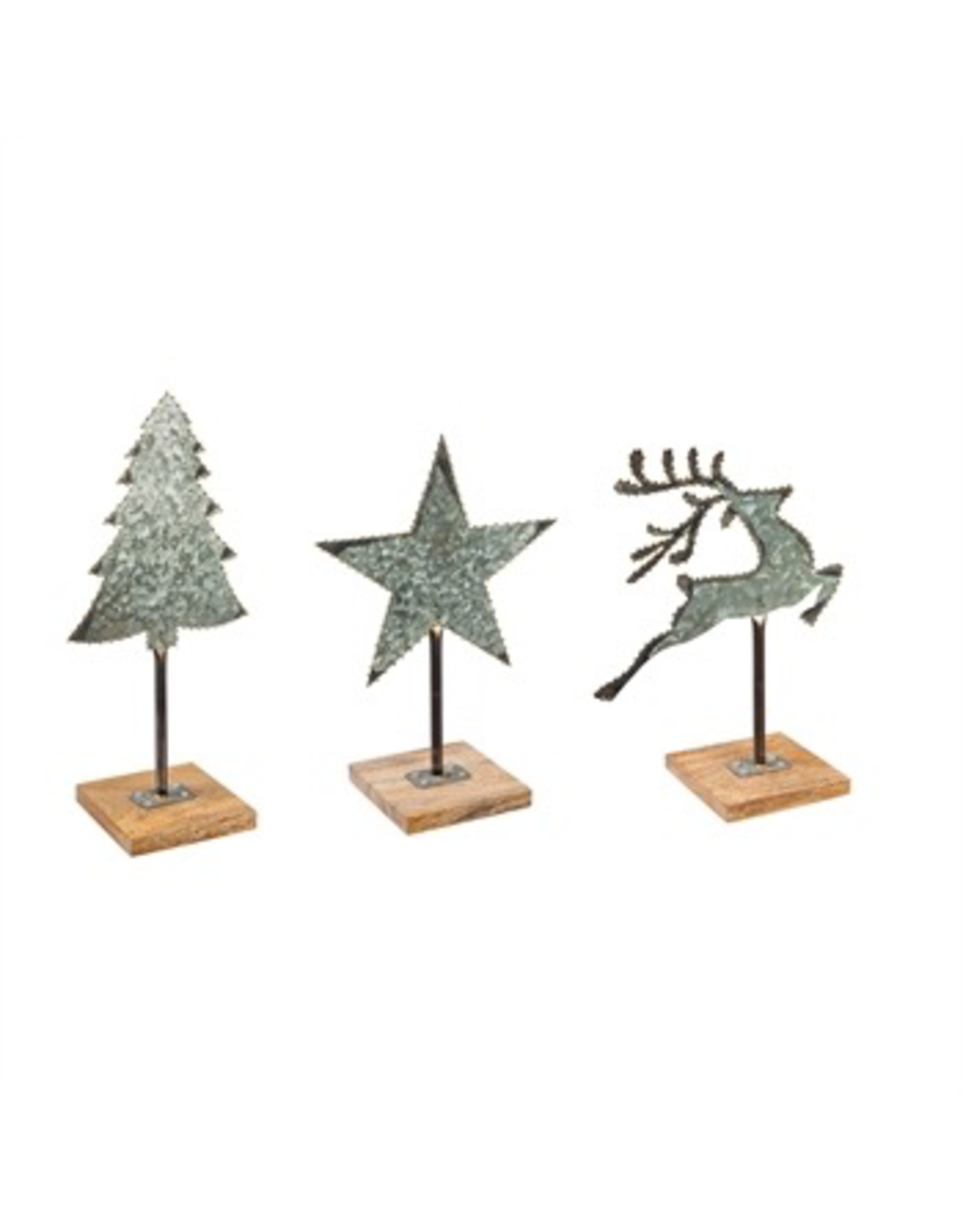 Evergreen Enterprises Galvanized Metal Christmas Tabletop Decor With Wood Base Miche Designs And Gifts