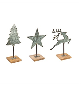 Evergreen Enterprises Galvanized Metal Christmas Tabletop Decor with Wood Base