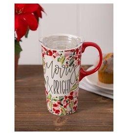 Evergreen Enterprises Merry & Bright Ceramic Travel Cup, w/box and Tritan Lid