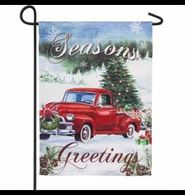 Evergreen Enterprises Christmas Farm Pickup Garden Suede Flag