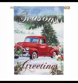 Evergreen Enterprises Christmas Farm Pickup House Suede Flag