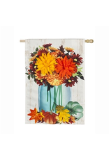 Evergreen Enterprises Fall Mums Floral Mason Jar House Linen Flag