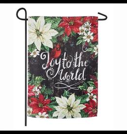Evergreen Enterprises Joy to the World Poinsettias Garden Suede Flag