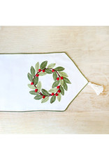 The Royal Standard Holly Wreath Embroidered Runner