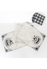 Mudpie Reversible Canvas Table Runner (JACK O LANTERN / BLACK & WHITE CHECKS)