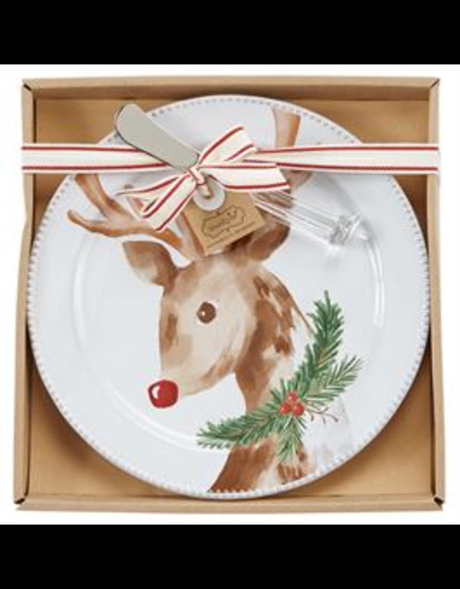 Mudpie Reindeer Tartan Cheese Plate