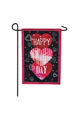 Evergreen Enterprises Valentine's Heart Trio Garden Burlap Flag