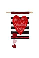 Evergreen Enterprises Valentine's Stripe House Applique Flag