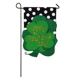 Evergreen Enterprises St.Patrick Clovers Garden Applique Flag