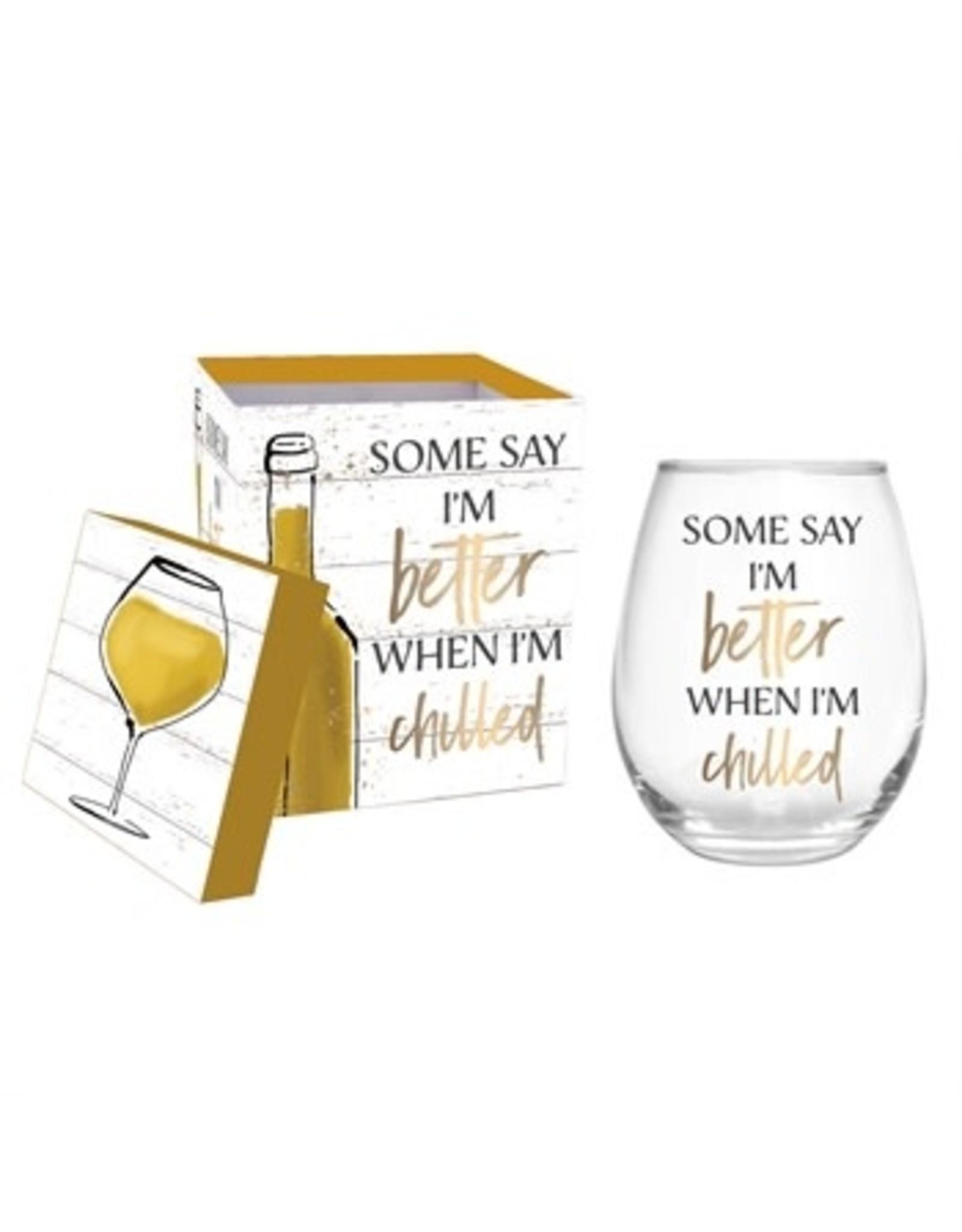 Evergreen Enterprises Stemless Wine Glass w/metallic accents & box
