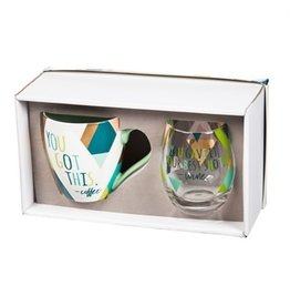 Evergreen Enterprises Cup & Stemless Wine Gift Set-You Gave It Your Best Shot