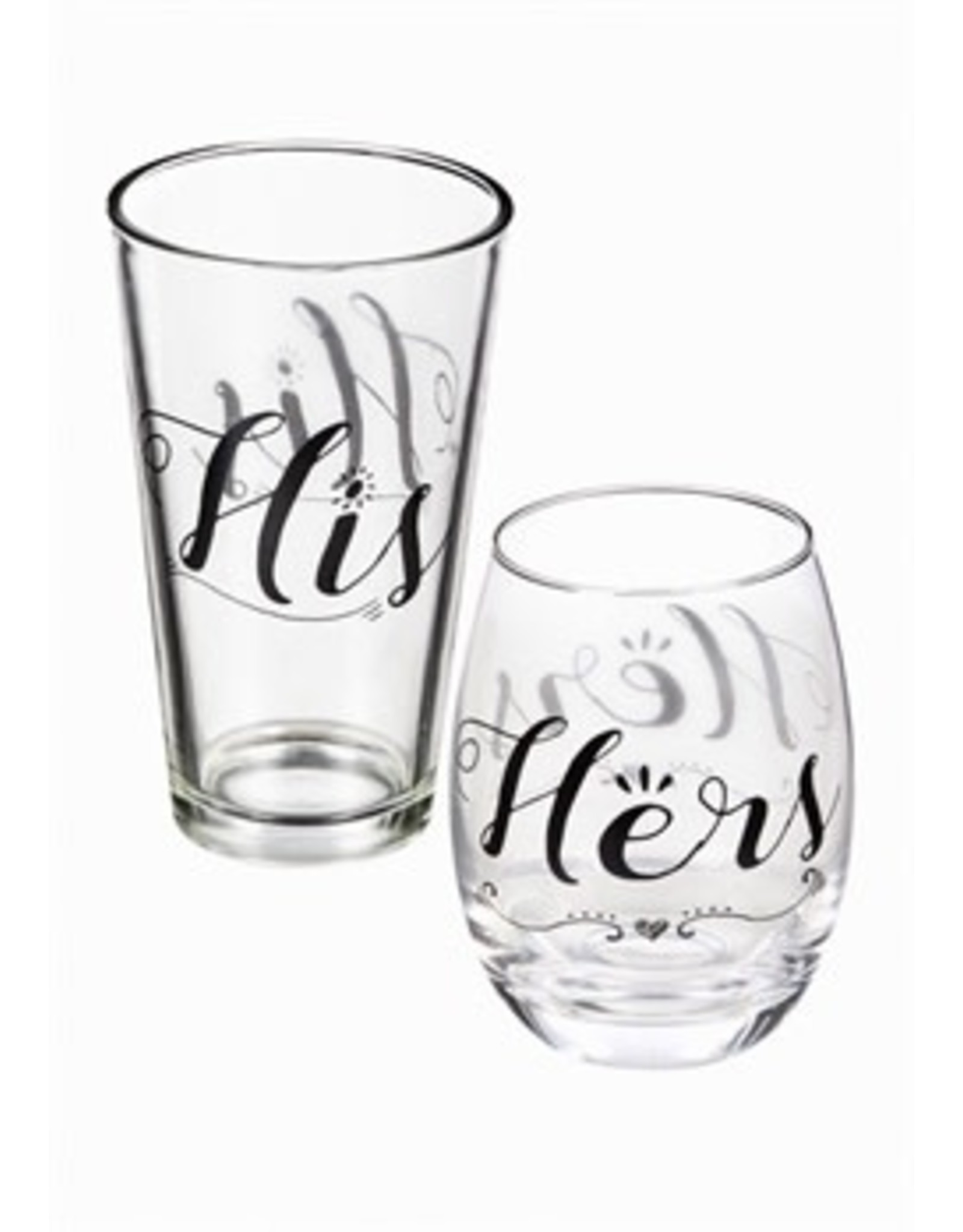 Evergreen Enterprises Stemless Wine Glass & Beer Cup Gift Set, Hers & His