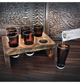 Torched Spirits Beer Bottle Shot Glasses and Display Tray