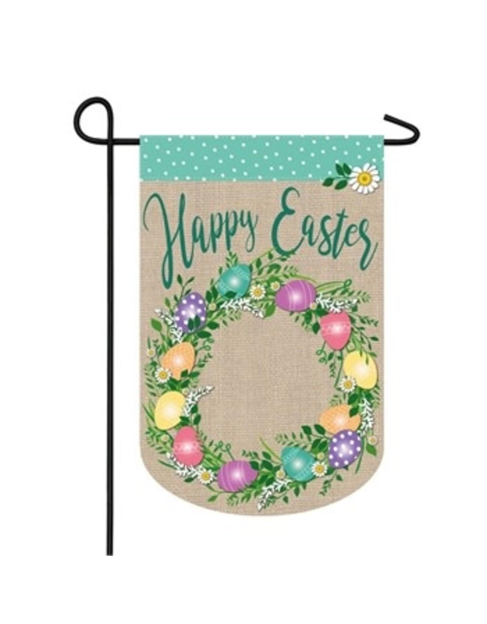 Evergreen Enterprises Easter Egg Wreath Garden Burlap Flag
