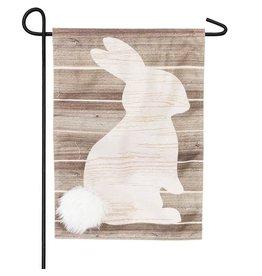 Evergreen Enterprises Wood Bunny Silhouette Garden Linen Flag