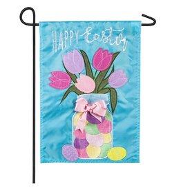 Evergreen Enterprises Easter Mason Jar Garden Applique Flag