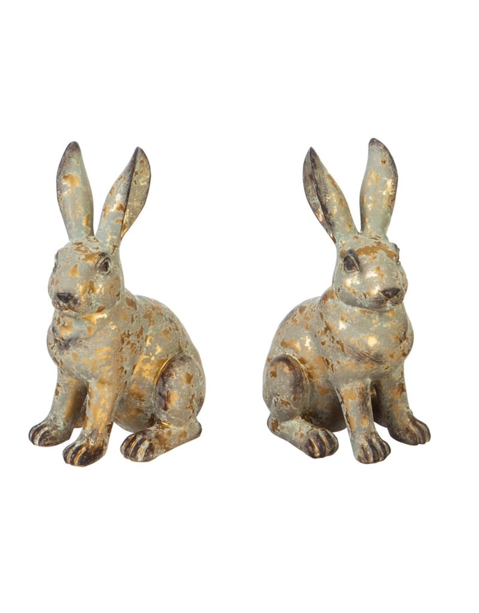 """Evergreen Enterprises 8.25""""H Rabbit Garden Statuary, 2 Asst, Gold Distressed"""