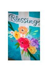 Evergreen Enterprises Blessings Floral Cross Garden Linen Flag