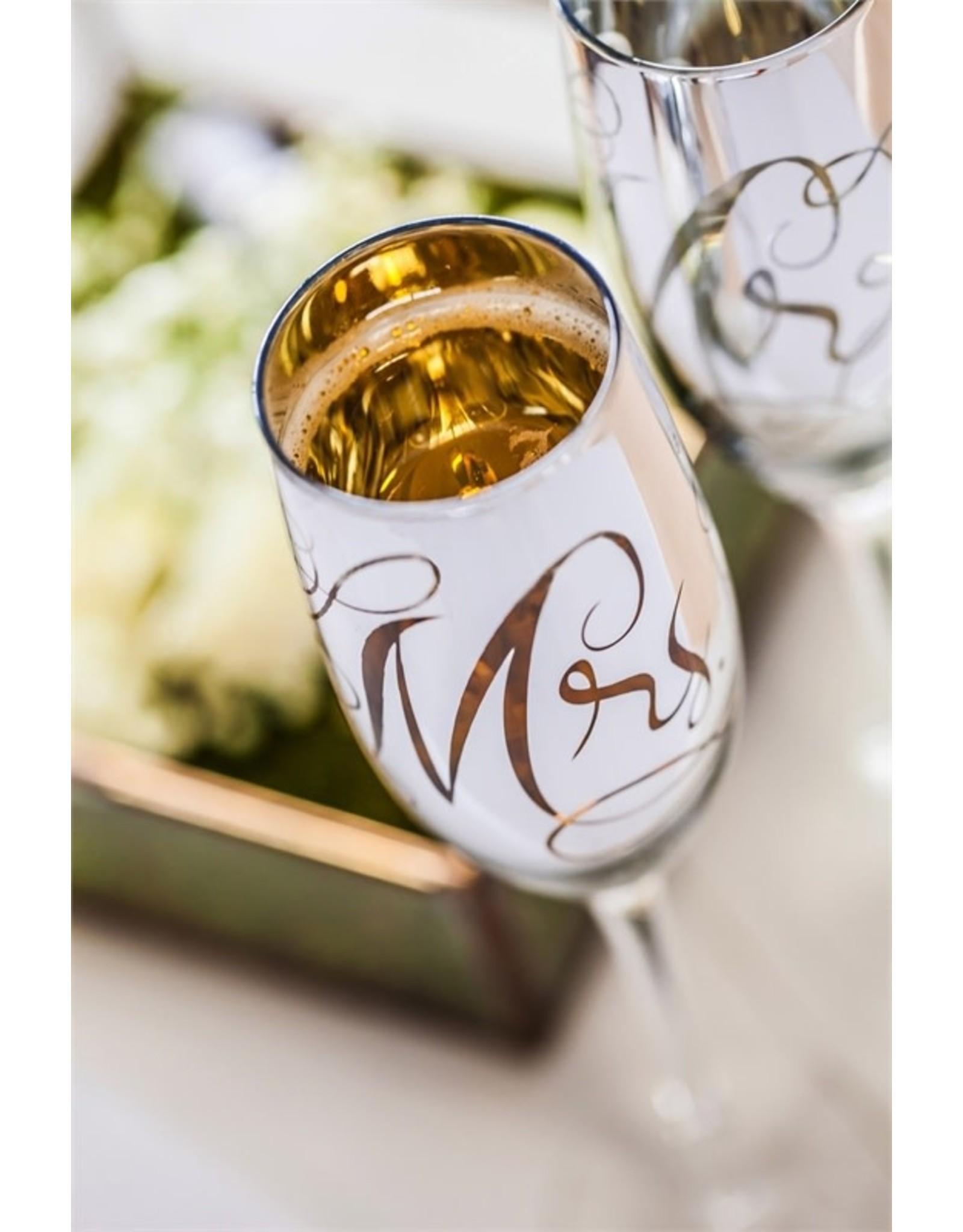Evergreen Enterprises Mr. & Mrs. Champagne Flutes, 8 OZ., Silver Metallic, Set of 2