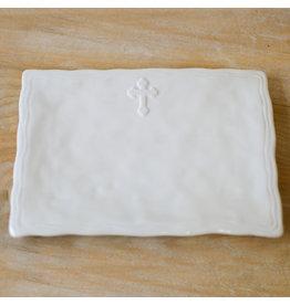 The Royal Standard Antique White Cross Platter,11.5x8.5