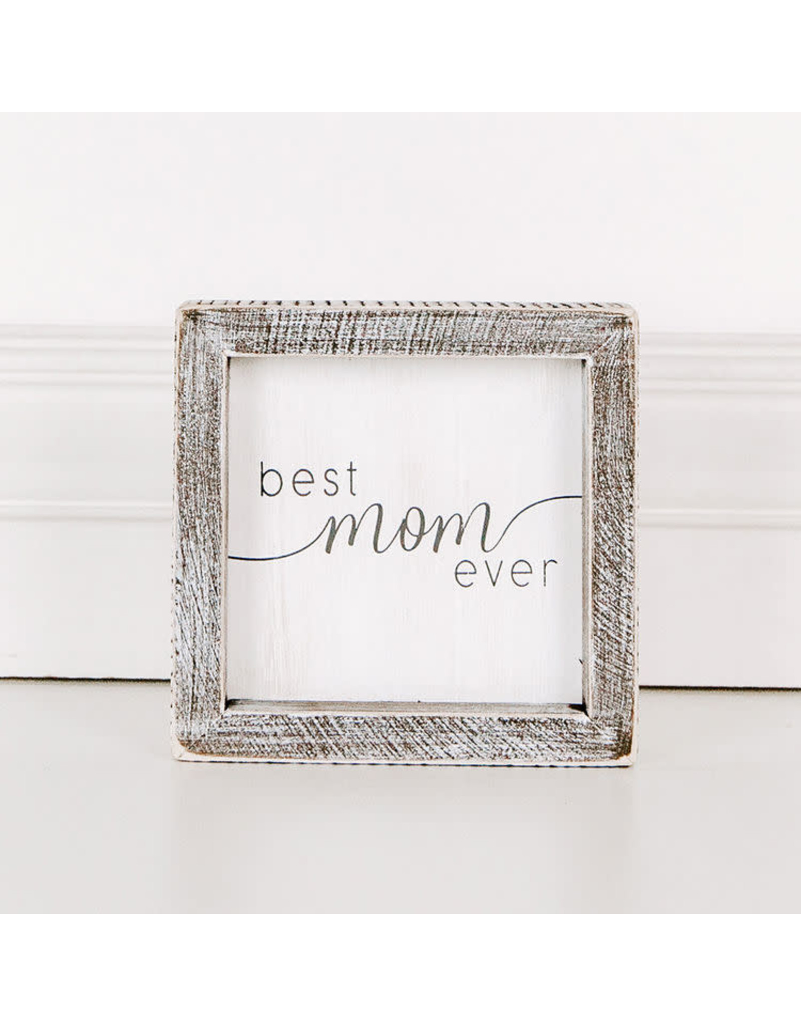 Adams & Co. Wd Framed Sign 5x5x1.5  (BST MOM EVR) wh/gy