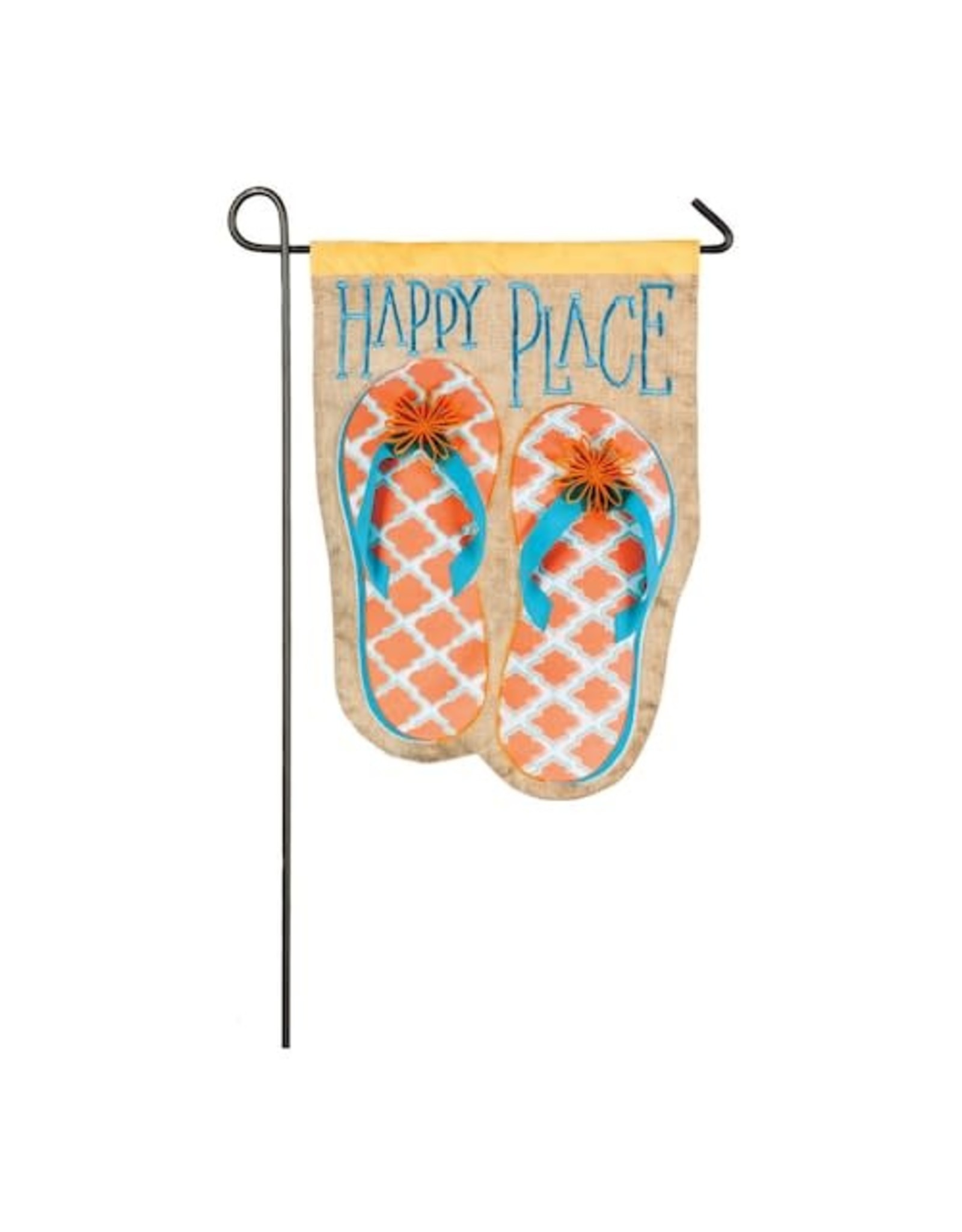 Evergreen Enterprises Happy Place Flip Flops Garden Linen Flag