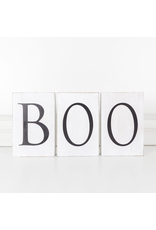 Adams & Co. Wood Block Set (Boo), White/Black