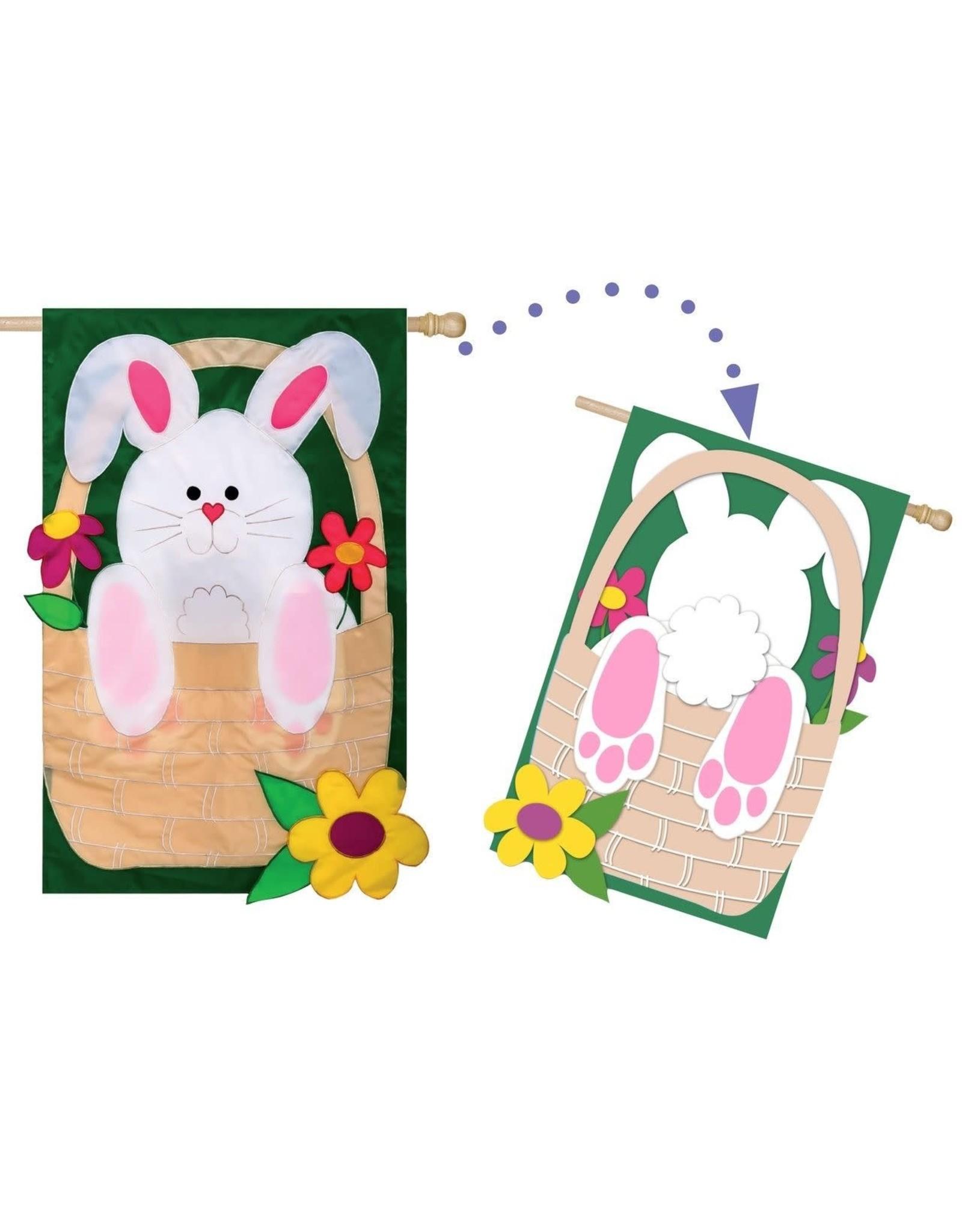 Evergreen Enterprises Bunny Basket Coming & Going House Flag