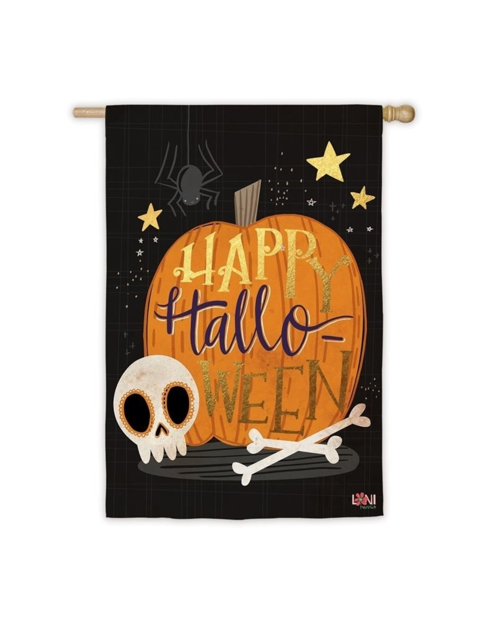 Evergreen Enterprises Halloween Skull House Suede Flag