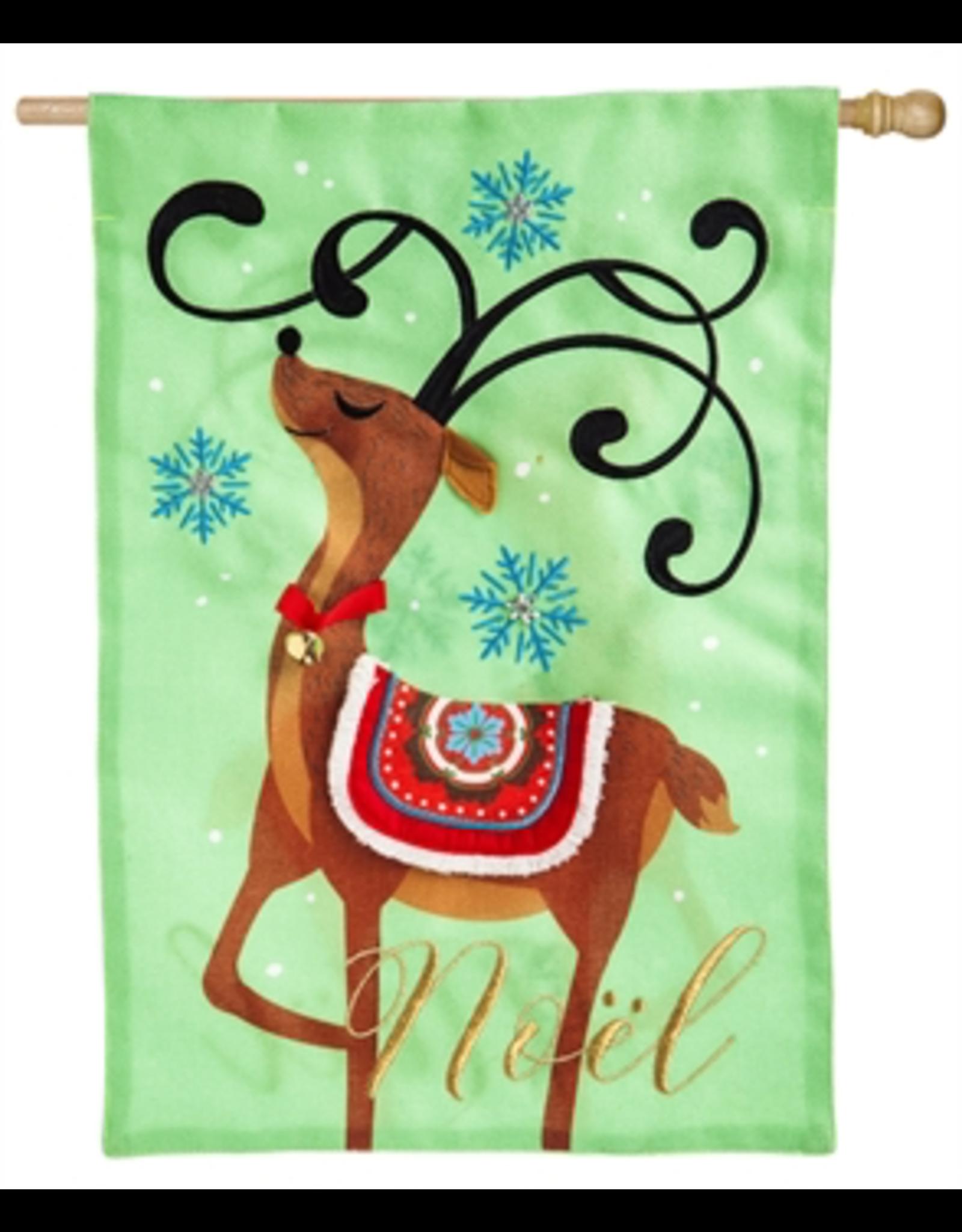 Evergreen Enterprises Noel's Reindeer House Burlap Flag
