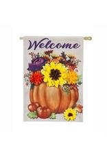 Evergreen Enterprises Floral Pumpkin House Burlap Flag
