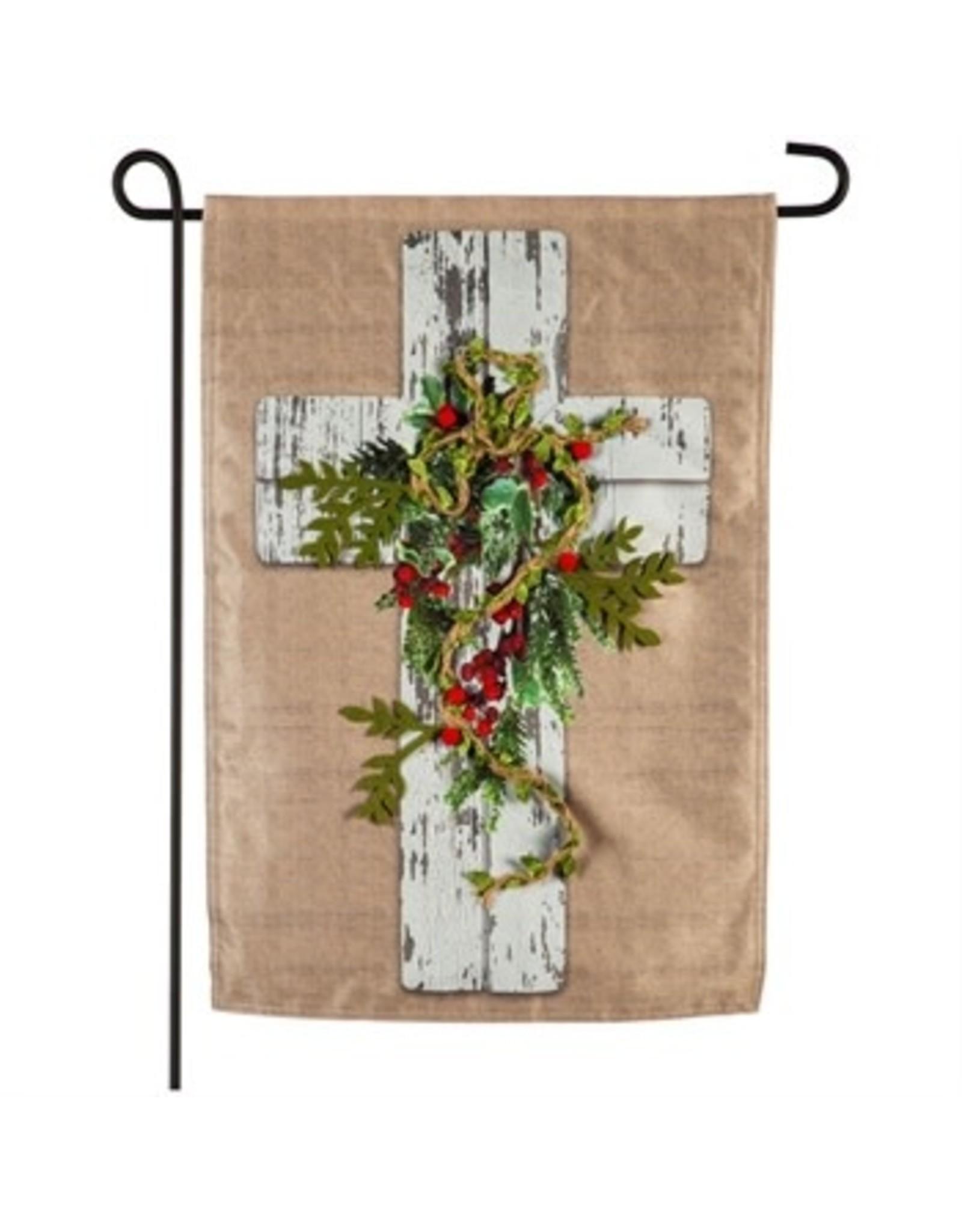 Evergreen Enterprises Woodgrain Cross Garden Linen Flag