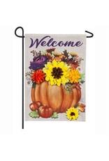 Evergreen Enterprises Floral Pumpkin Garden Burlap Flag