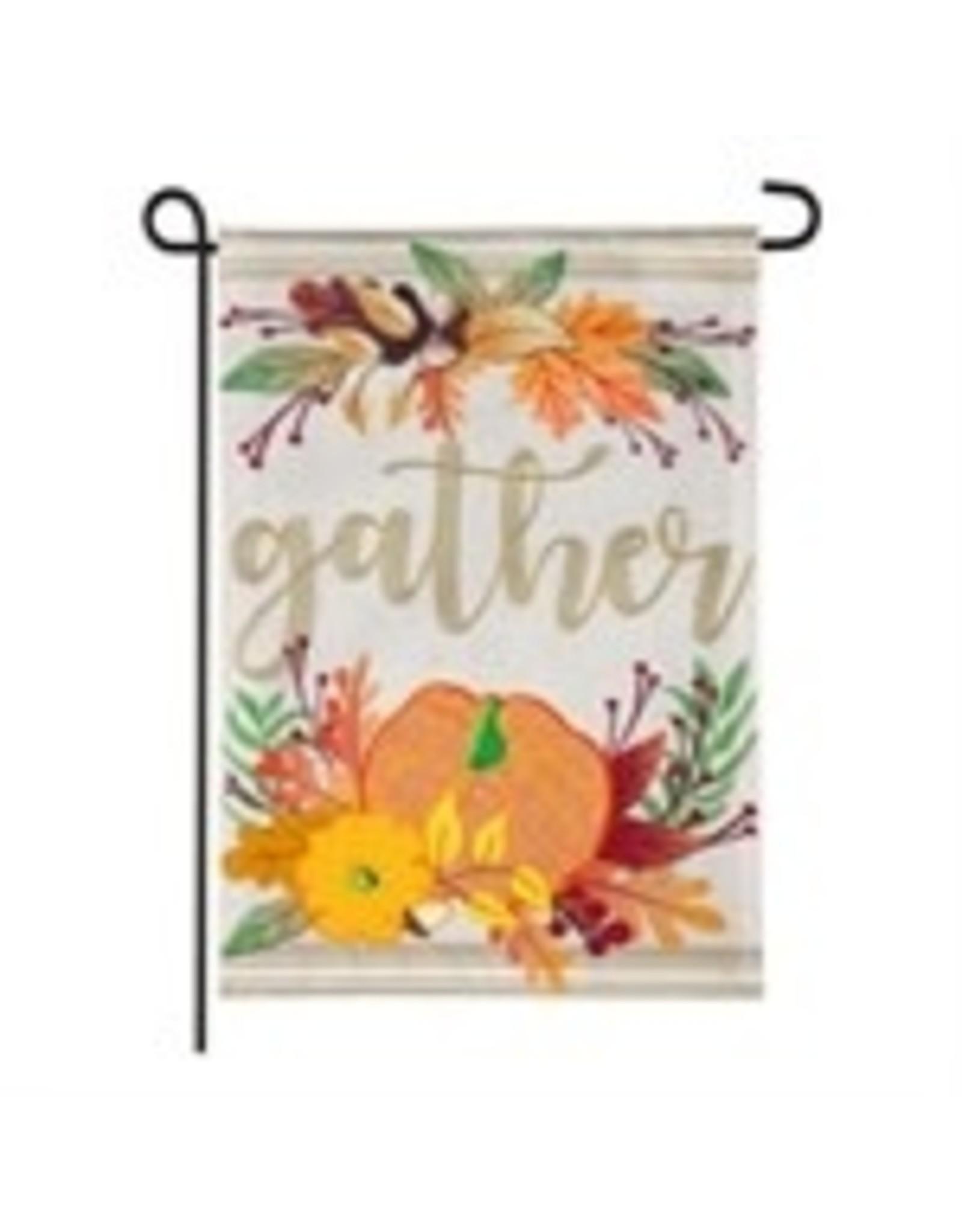 Evergreen Enterprises Autumn Gather Garden Burlap Flag