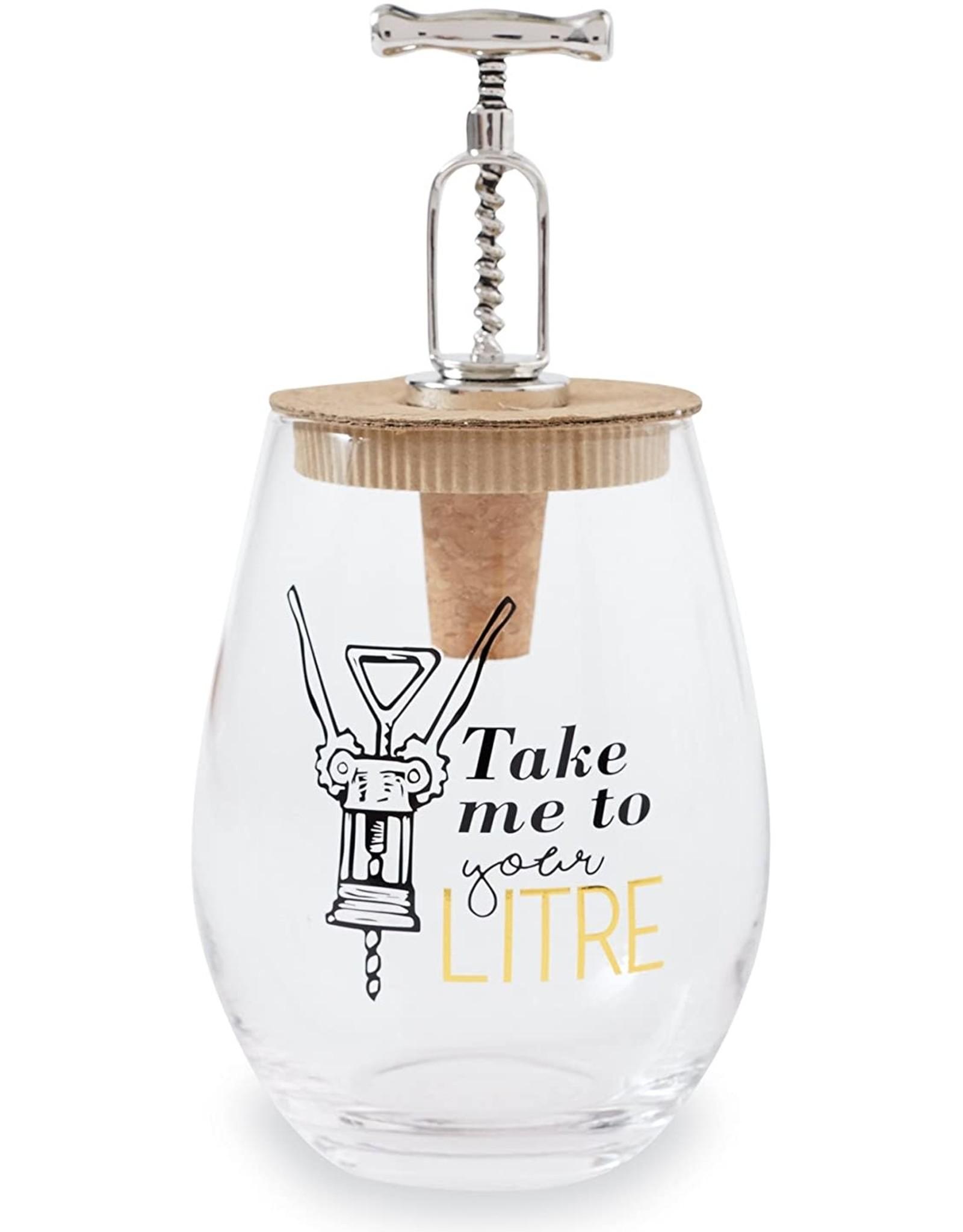 Mudpie Litre Corkscrew Wine Glass
