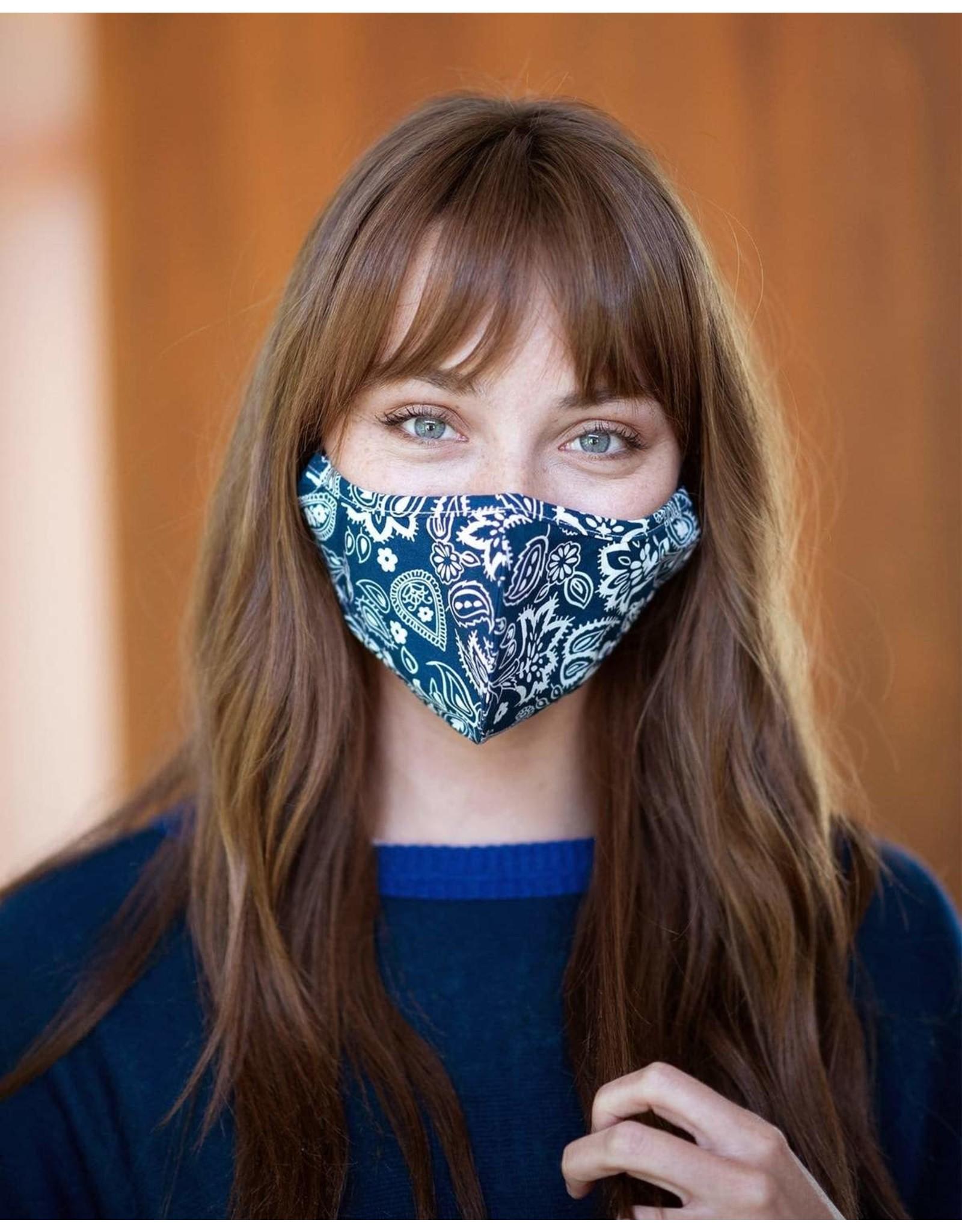 Mer Sea Reusable Face Mask - Navy Print