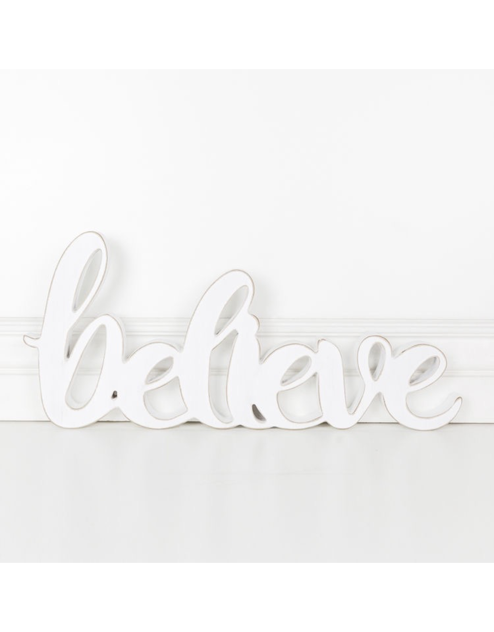 Adams & Co. Wood Cutout (Believe), White