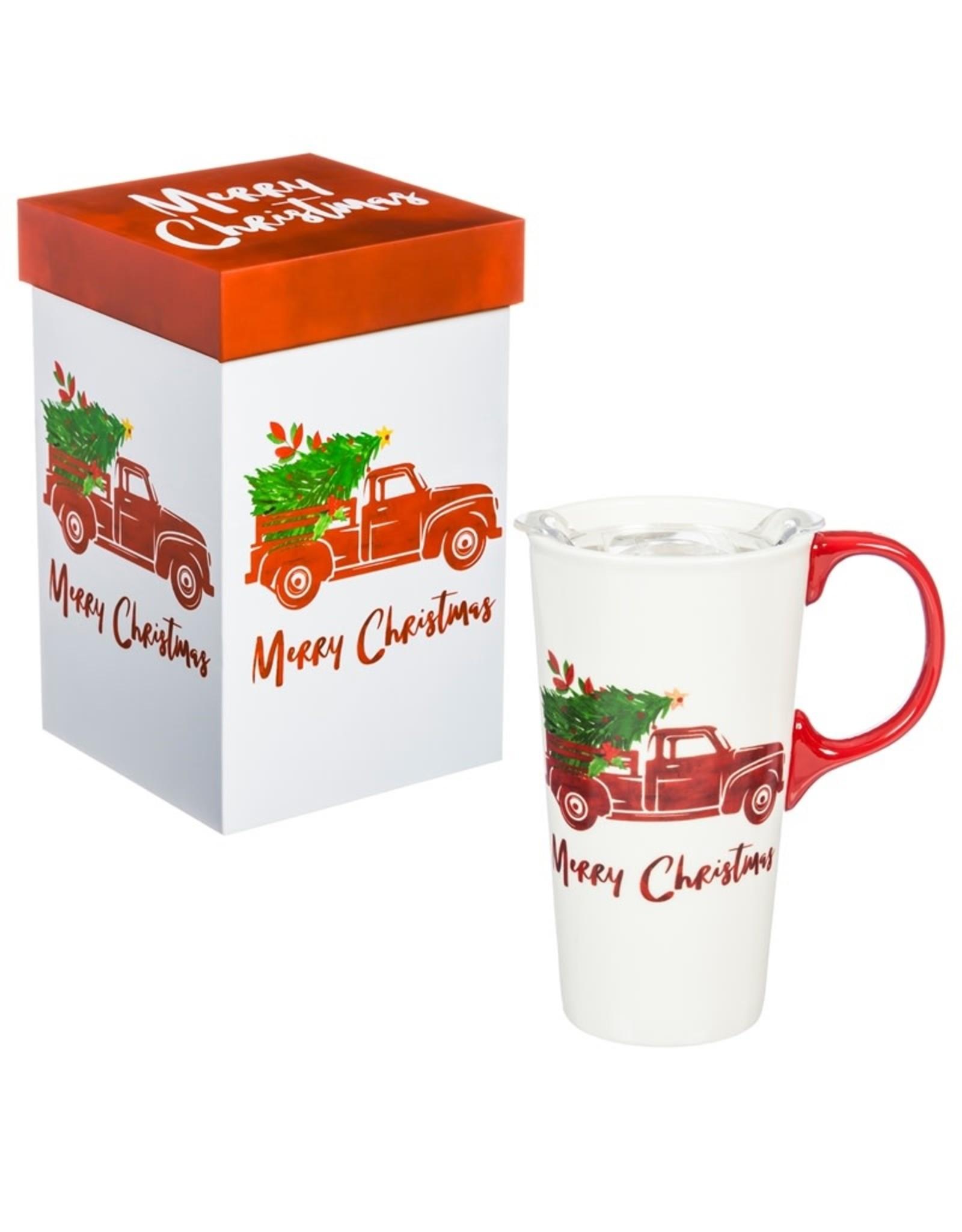 Evergreen Enterprises Ceramic Travel Cup w/box and Tritan Lid, Holiday Destination