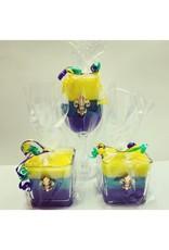 Southern Lights Tri-Color King Cake 12oz Glass Candles