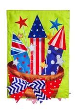 Evergreen Enterprises Basket of Fireworks Garden Burlap Flag