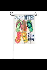 Evergreen Enterprises Life Is Better In Flip Flops Garden Linen Flag