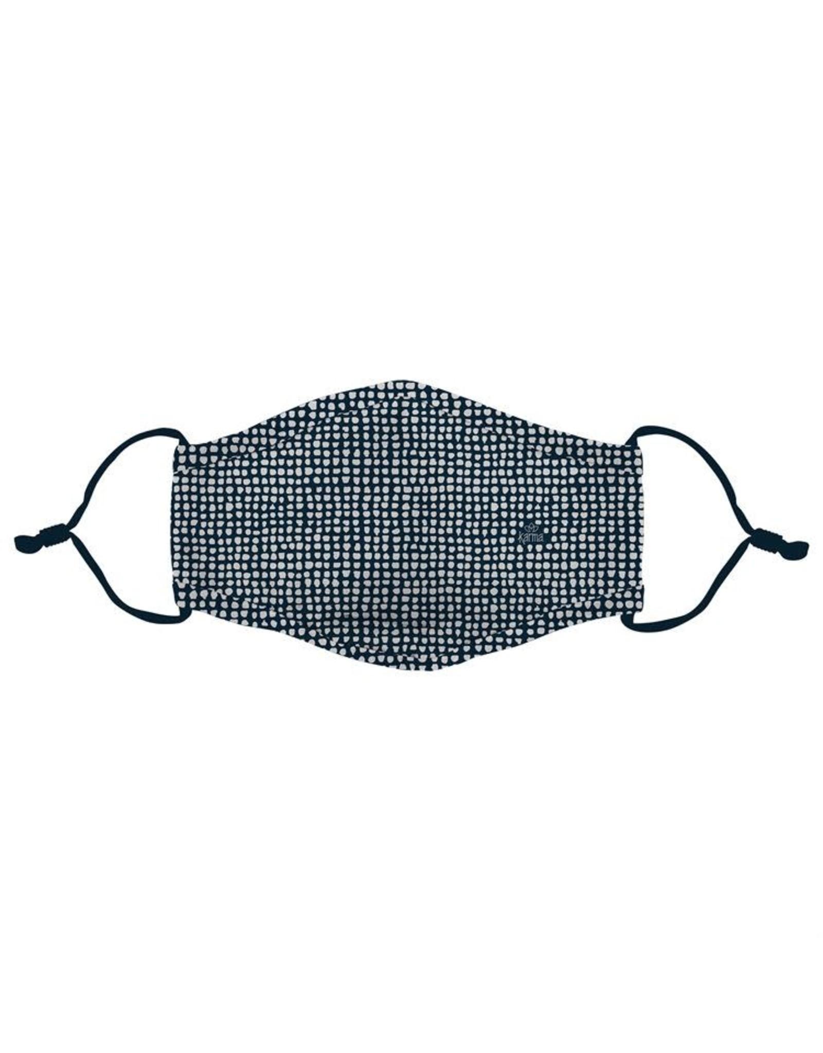 Ivystone Poly Face Mask W/Filter Pocket-Navy Organic Dots
