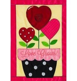 Evergreen Enterprises Love Grows Garden Applique Flag