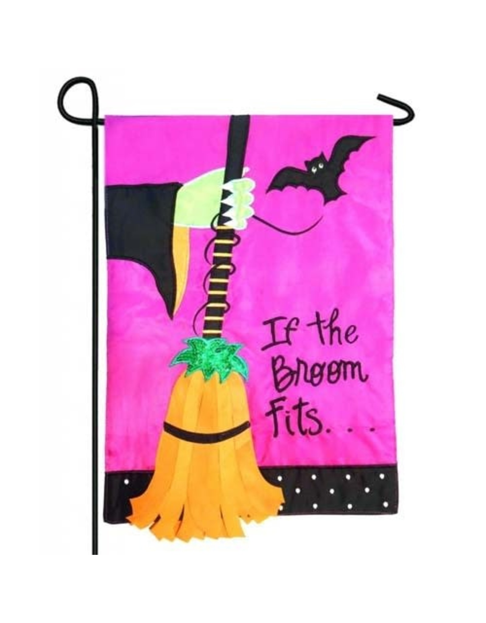 Evergreen Enterprises If The Broom Fits Garden Applique Flag