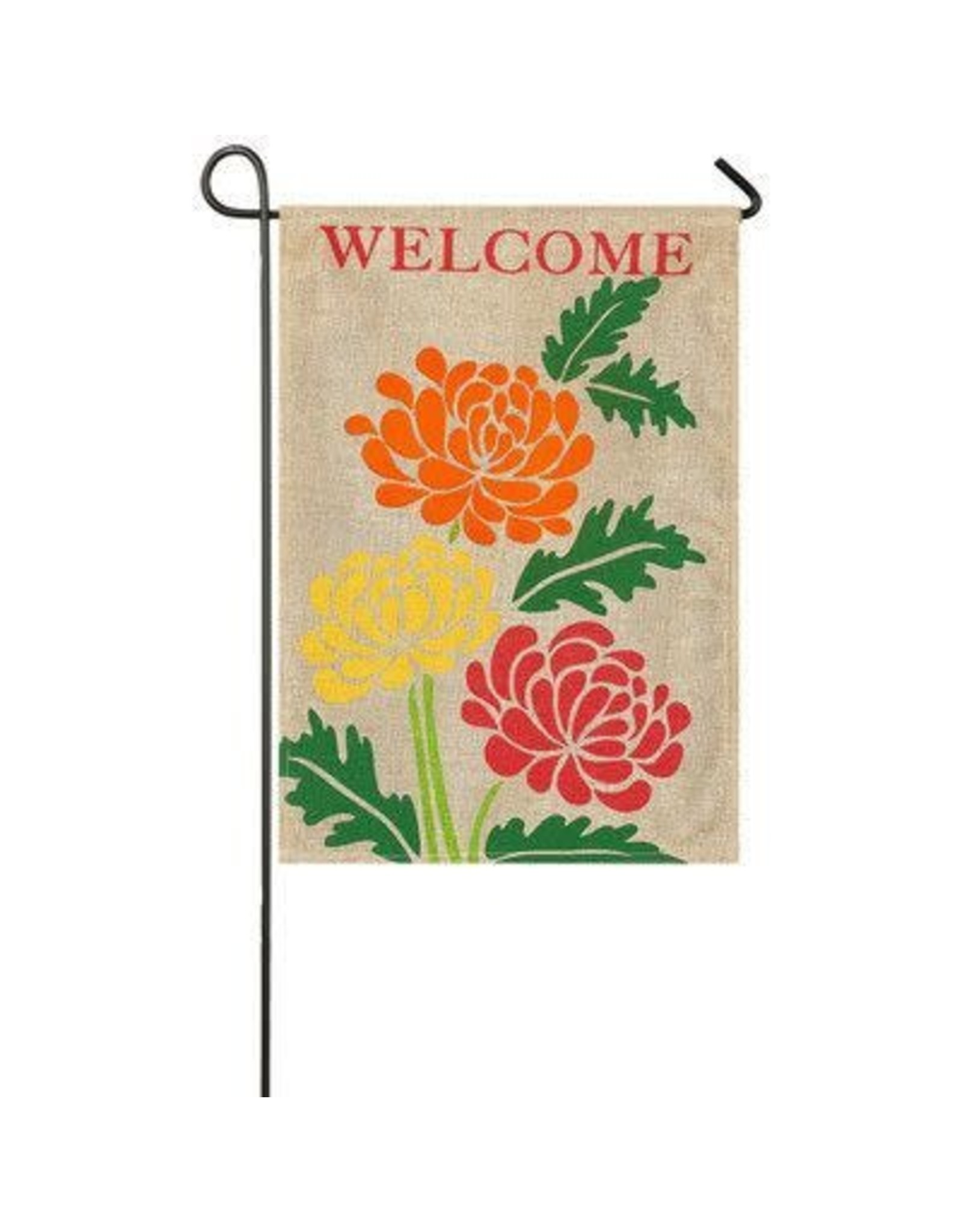 Evergreen Enterprises Fall Mums Garden Burlap Flag