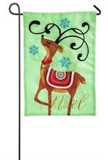 Evergreen Enterprises Noel's Reindeer Garden Burlap Flag