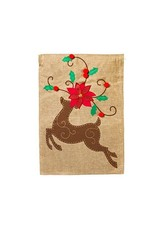 Evergreen Enterprises Burlap Poinsettia Reindeer Embellished Garden Flag