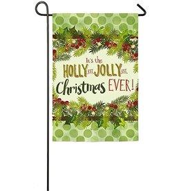 Evergreen Enterprises Holly Jolly Christmas Suede Garden Flag