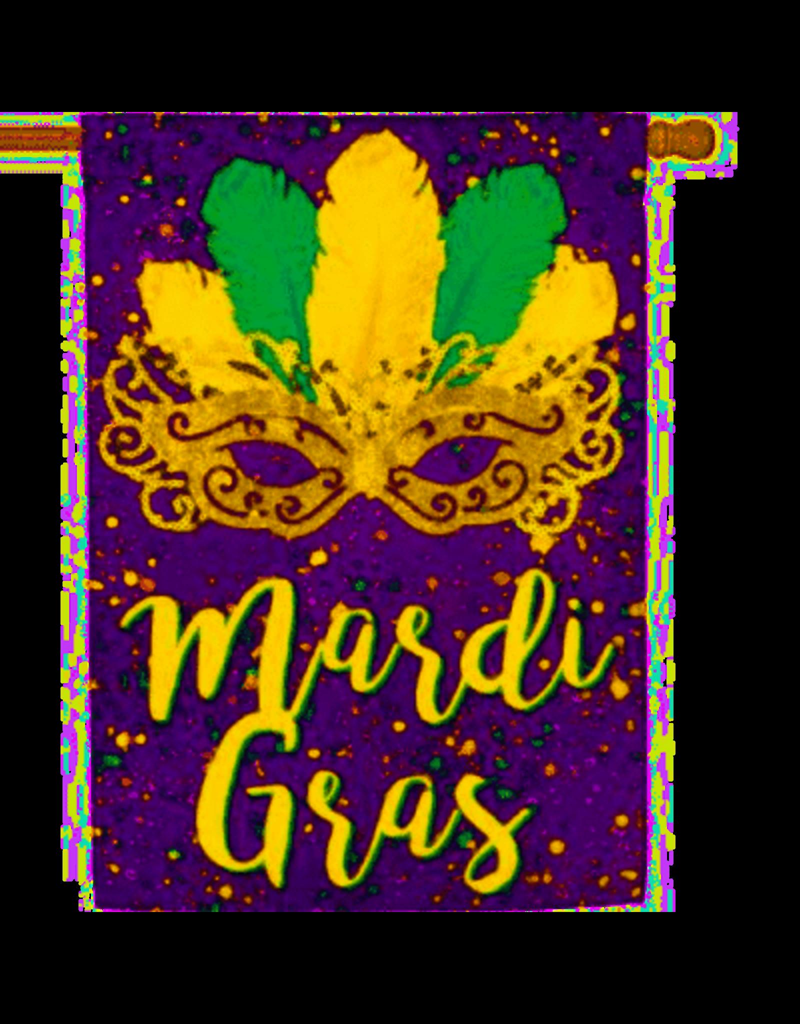 Evergreen Enterprises Mardi Gras Mask House Linen Flag